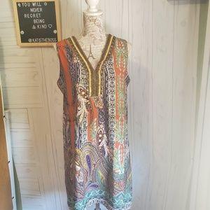 Miami embellished neck paisley shift dress med